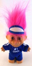 "Russ Troll #1 COACH in Blue Track Suit 5"" Pink Hair Visor Hard Plastic D... - $12.86"