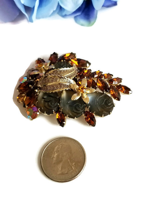 Vintage Molded Glass Rose and Topaz Rhinestone Brooch, Vintage Floral Pin image 5