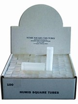100 NUMIS Square Dime18mm Coin Tubes, Coin Storage - $43.99