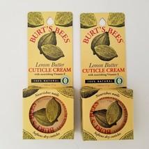 Burts Bees Lemon Butter Cuticle Cream Lot of 2 100% Natural Nail Moistur... - $15.00