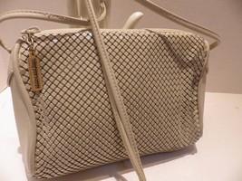 Vintage Whiting & Davis Beige Metal Mesh & Leather Shoulder Bag Cross Body - $30.96