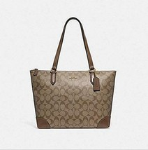COACH ZIP TOP TOTE IN SIGNATURE CANVAS, F29208, KHAKI SADDLE, Medium - $130.38