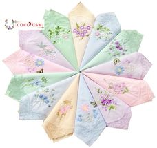 Womens New Colored Embroidered Cotton Handkerchiefs Bulk 6 pcs - $22.23