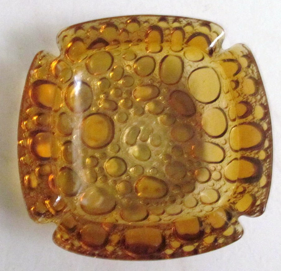 Vintage Blenko Mid-Century Amber Color Pebble Stone Design Glass Ashtray Table D