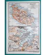 MALTA Island & Valletta City Town Plan - 1911 BAEDEKER MAP - $19.80