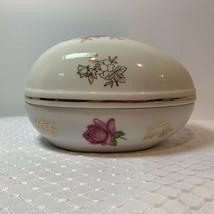 Vintage Lefton China Hand Painted Rose Egg Shaped Trinket Box #2209 - $12.99
