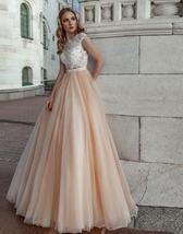 Peach Beach Wedding Dresses Cap Sleeve Lace Appliques Soft Tulle Boho Princess W image 7