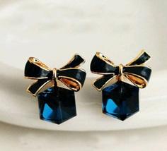 Blue Earrings for Women Beautiful Chick Earrings Bow Blue Stud Earrings  - $1.99