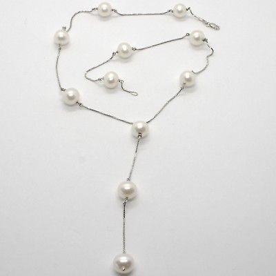 18K WHITE GOLD LARIAT NECKLACE, VENETIAN CHAIN ALTERNATE WITH WHITE PEARLS 10 MM