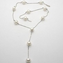 18K White Gold Lariat Necklace, Venetian Chain Alternate With White Pearls 10 Mm - $676.40
