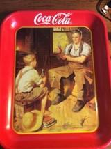 Coca Cola Coke Serving Tray Metal Village Blacksmith 1987 Collectible Re... - $19.59