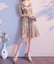 Knee Length Gold Sequin Dress Half Sleeve Sequin Gold Dress Wedding Guest Dress image 4