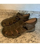 EARTH SPIRIT Fisherman Sandals Brown Leather Comfortable Gelron 2000 Mens 8 - €44,40 EUR