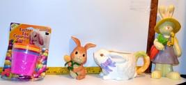 "Easter-Egg Color Kit NIB,12"" Bunny Figurine+ Ceramic Candy Dish w handle... - $9.60"