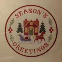 "Sunset Season's Greetings Stamped Cross Stitch Kit Christmas Amy Kozma 12"" x 12"" - $19.79"
