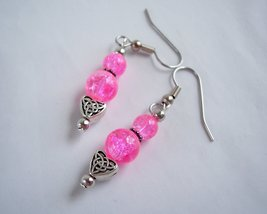 Celtic Heart Charm Earrings Pink and Silver - $10.00