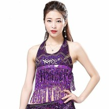 Women Belly Dance Clothing Sleeveless Halter Paillettes Sequins Fringes ... - $14.99
