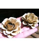 TWO Large metal Roses flowers for embellishments and accents, BEIGE - $19.77