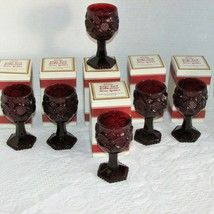 """AVON CAPE COD COLLECTION RUBY RED WINE GLASS 6 GOBLETS 4 1/2"""" CANDLE HOL... - $49.99"""