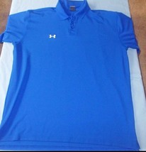 Under Armour Blue Team Armour Golf Polo Size Lg (With extra button) - $19.57