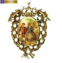 Vintage Antique Estate Yellow Gold Porcelain Portrait Cameo Pin Brooch - $499.00