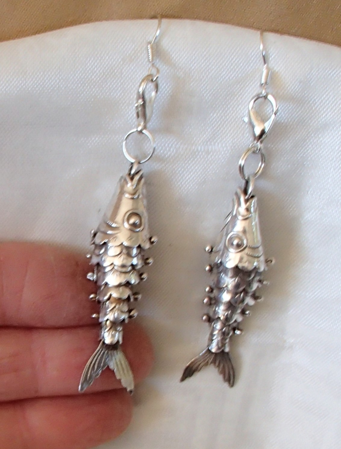 Primary image for Articulated Fish Sterling Handcrafted Convert Earrings Key Chains Zipper Clipper
