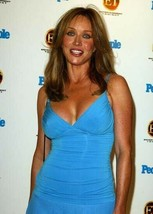 Tanya Roberts candid 1990's pose in low cut blue dress smiling 5x7 inch ... - $5.75
