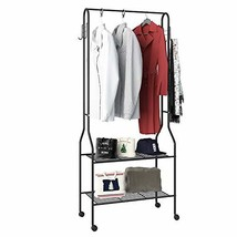 "GHQME Entryway Coat Garment Rack with Wheel, (26.8"" x 13.4"" x 63""