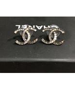 AUTHENTIC Chanel CC Logo Crystal Sparkle Stud Earrings Gray Black  - $399.00