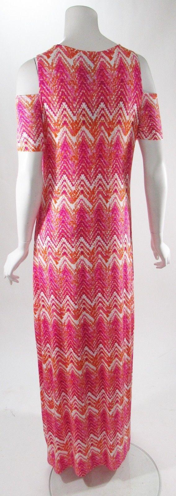 Design History Off The Shoulder Pink Chevron Maxi Dress Sz S, M , L, XL NWT