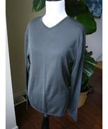 DKNY gray 100% silk v neck sweater s small made in Hong Kong HOLES - $16.14