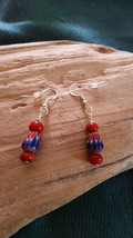 Earrings, Vintage Chevron and Red glass Trade beads  Earwires Marked 925... - $9.36