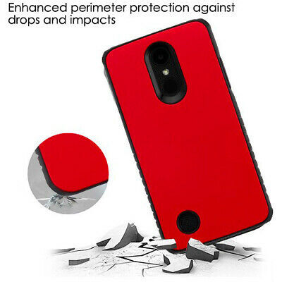 Red/Black Hybrid Case Protector Cover for LG Rebel 2/Phoenix 3/Fortune
