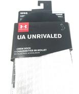 Under Armour Mens Crew Socks sz 9-12 Large White Cushioned Athletic UA U... - $12.38