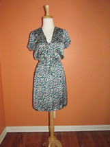 Max Studio Size S Square Print Cap Sleeve Cinched Waist Tie Neck Dress  - $29.69