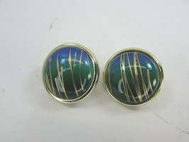 Vintage Goldtone Blue Green Button Earrings 1980's Gold Tone 35075 - $11.87