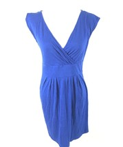 Ann Taylor LOFT Womens Sz Small Blue Sleeveless Stretch Dress Deep V-Nec... - $12.47