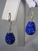 SWAROVSKI ELEMENT BLUE CRYSTAL PEAR SHAPED HANGING BALL EARRINGS STERLIN... - $24.70