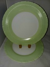 Macbeth Evans Cremax Oxford Green Boarder Rim 2 Dinner Plates Circa 1940s - $24.99