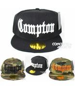 Black Compton Vintage Cube Flat Bill Snapback Snap Back Cap Hat - £8.05 GBP