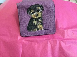 YORKIE PUPPY HAND PAINTED LEATHER MINI WALLET - $65.00