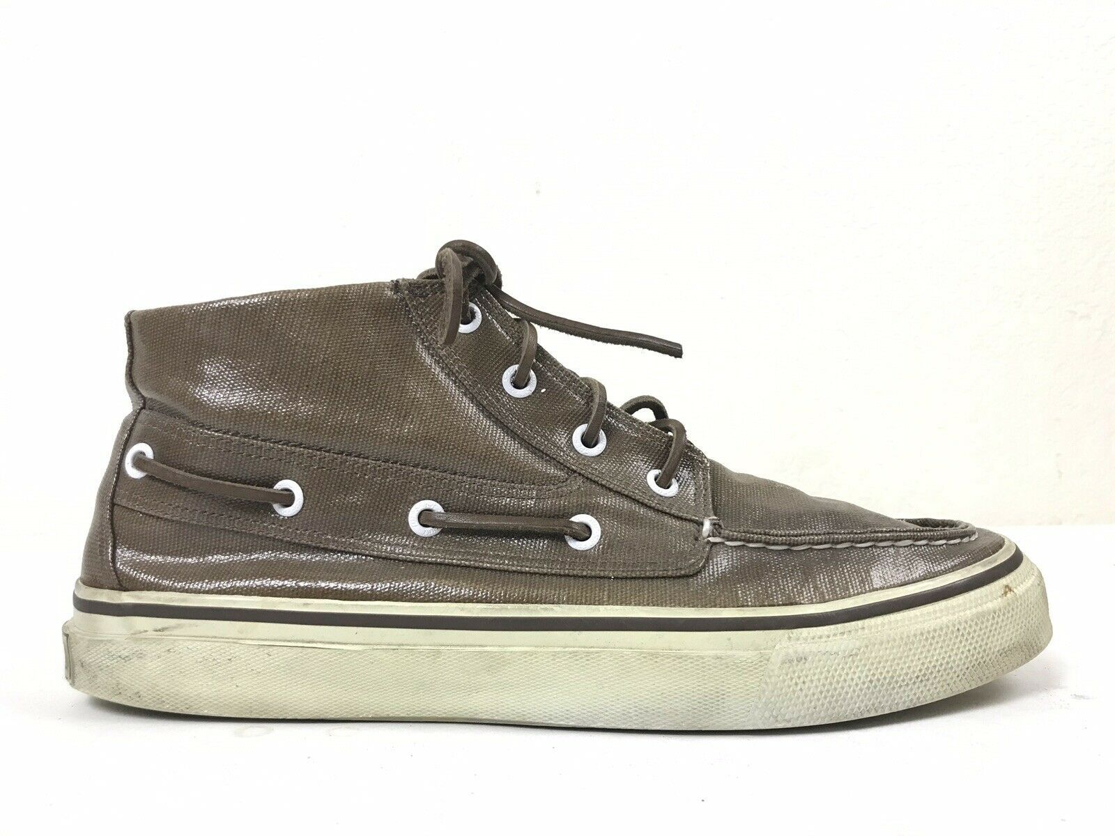 Sperry Top Sider Shiny Brown High Top Canvas Sneakers Shoes Men's Size 10