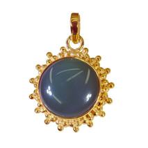 charming Green Onyx Gold Plated Green Pendant Natural exporter US gift - $12.86