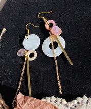 Pink Asymmetric Shell Earrings / Mismatched Dangle Earrings / Geometric Earrings - $23.29