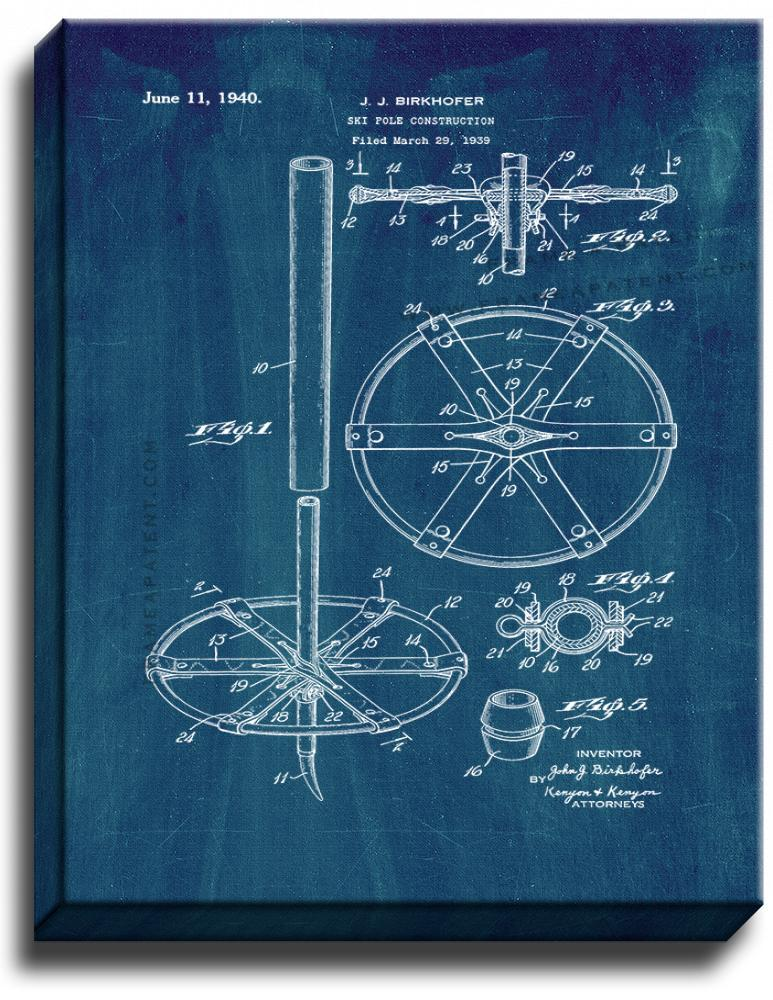 Primary image for Ski Pole Construction Patent Print Midnight Blue on Canvas