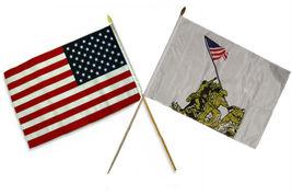 """12x18 12""""x18"""" Wholesale Combo EGA USMC Marines & Battle Iwo Jima Stick Flag - $22.00"""