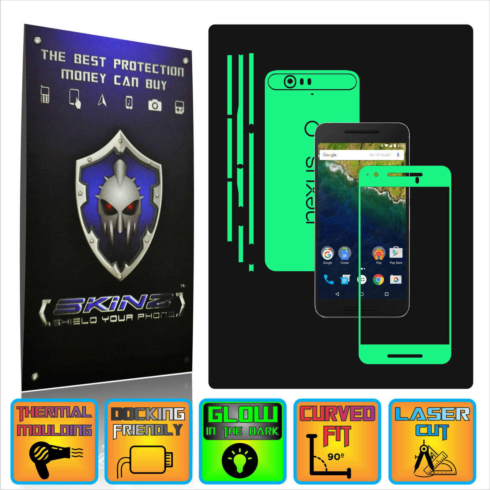 Huawei google nexus 6p   x glow in the dark full body skin