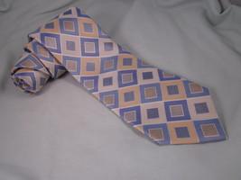MICHAEL KORS Silk Necktie Yellow Blue Silver Neck Tie 121148 Diagonal Sq... - $19.35