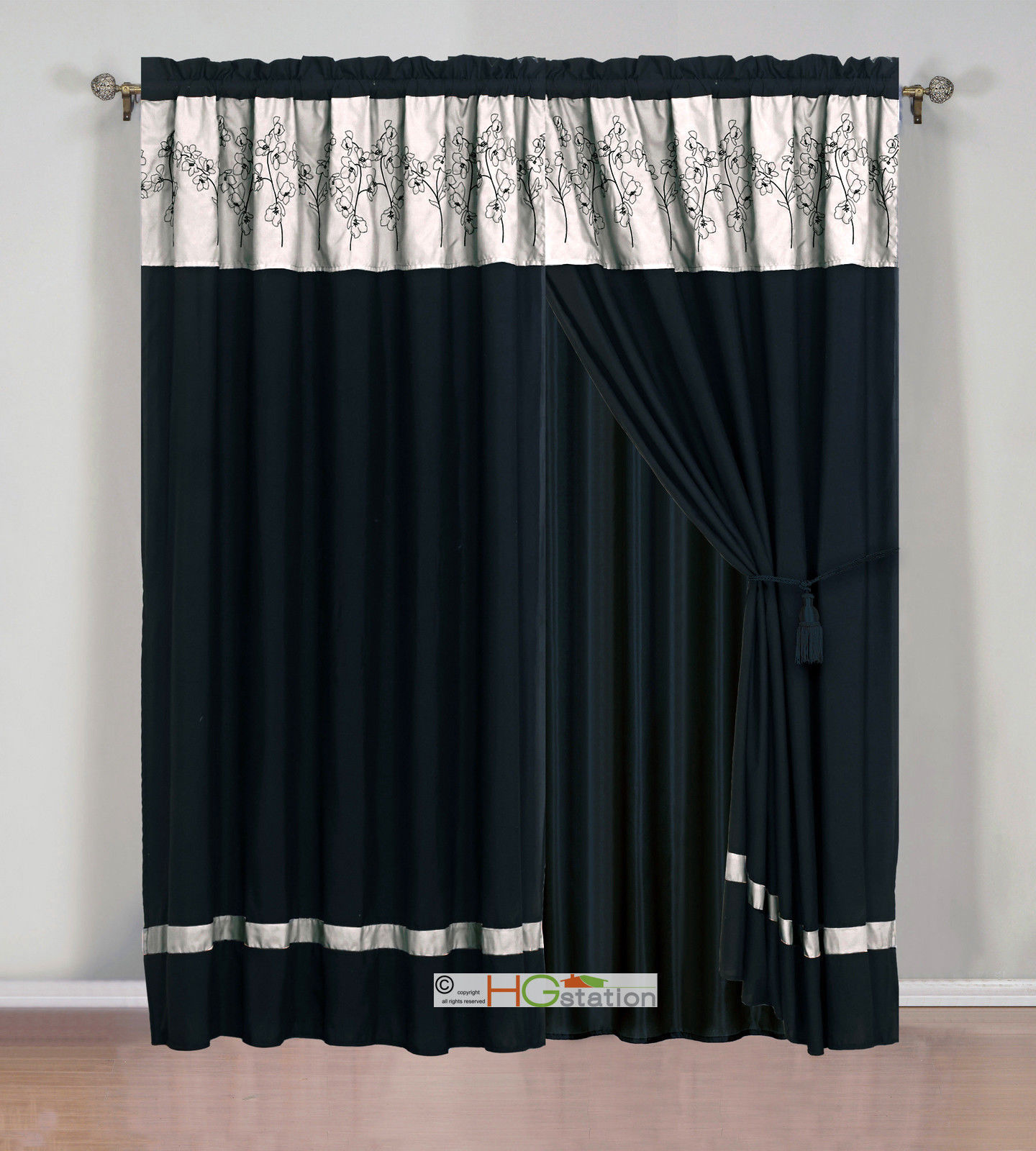 Primary image for 4-Pc Flower Floral Bloom Curtain Set Dark Beige Khaki Black Valance Drape Liner
