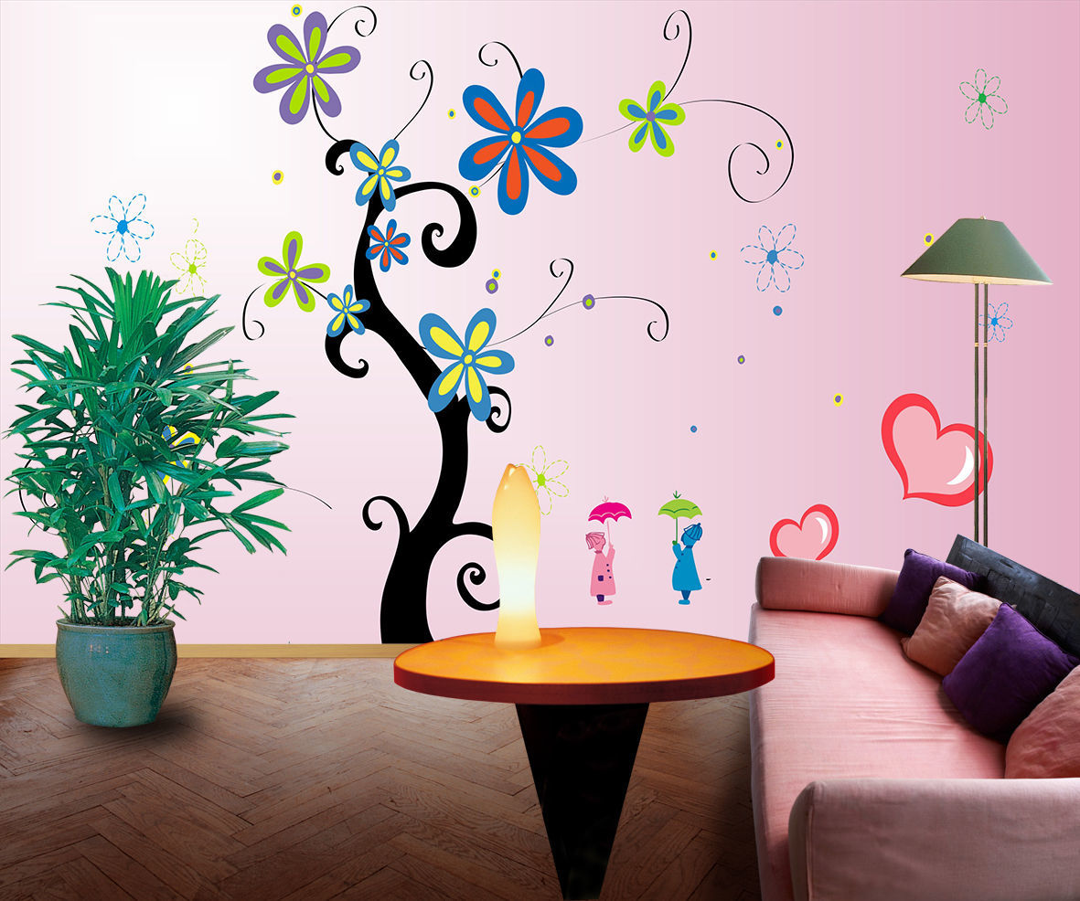 3d farbige blumen b ume 09 fototapeten wandbild bild tapete familie kinder wallpaper murals - Wandbild familie ...